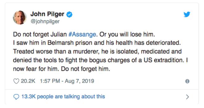 Journalist John Pilger's twitt. © Screen copy