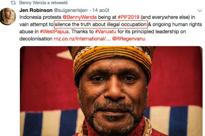 Screen copy of Jennifer Robinson twitt. © Web screen copy