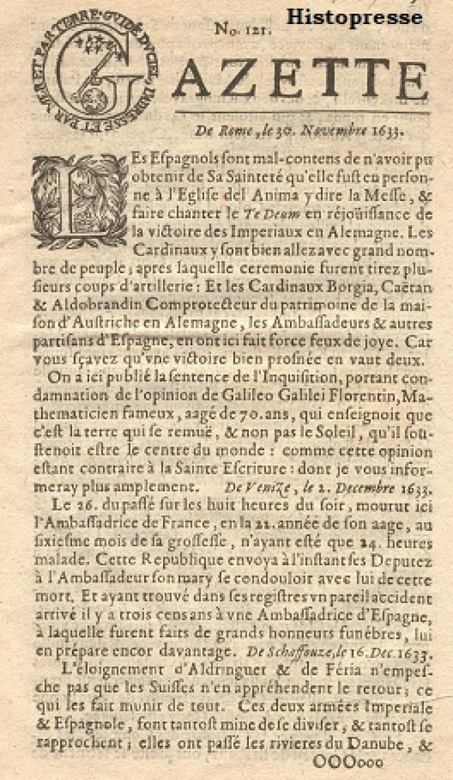La Gazette de Renaudot en 1633.