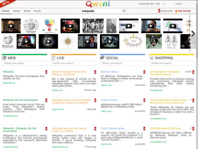 Version bêta de Qwant en 2013.