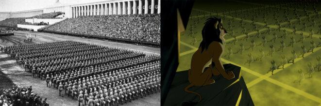à gauche Triumph des Willens (1935) de Riefenstahl à droite Le Roi Lion (1994) de Minkoff