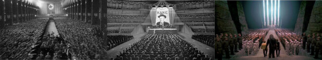 de gauche à droite:Triumph des Willens (1935), Citizen kane (1941) et Star Wars(1977)