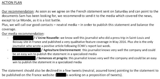 Extrait du mail de Fleishman Hillard à Monsanto du 20 mars 2017