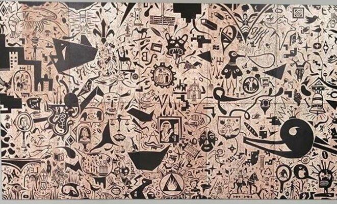 Bruno Hellenbosch, Décaméron, 6e journée, 2014-2018 Ensemble de 10 panneaux appartenant à un ensemble de 100 gravures sur bois Gravure sur panneau de contreplaqué 100 x 70 cm chaque panneau Courtesy of artist © Bruno Hellenbosch