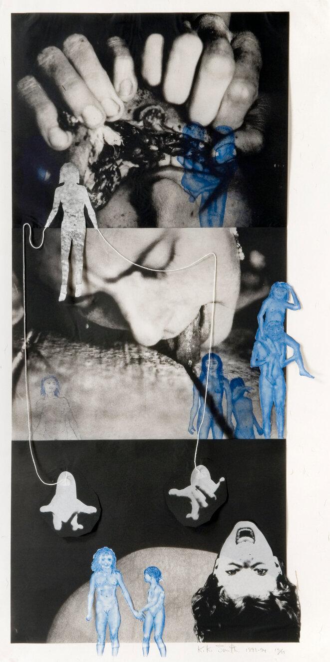 Kiki Smith, Puppet, 1993-1994 Photogravure, eau-forte et aquatinte sur papier japon, collage et cordelettes Image 140,9 x 66,5 cm Feuille 147,3 x 74,1 cm Édition à 35 ex Éditeur et imprimeur : Universal Limited Art Editions, West Islip, New York Frac Normandie Rouen © Kiki Smith, 2019 – Galerie Lelong & Co.
