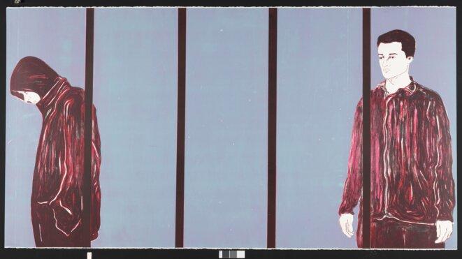 Djamel Tatah, Wood 0113, 2013 Bois gravé et lithographie sur pierre 250 °— 133 cm. Édition à 14 ex Éditeur et imprimeur : Michael Woolworth, Paris. Courtesy Michael Woolworth © Djamel Tatah, ADAGP, Paris, 2019 – Musée des Beaux-Arts de Caen – Photo P. Touzard