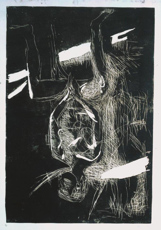 Georg Baselitz, Weiblicher akt auf Küchenstuhl (Nu féminin sur une chaise de cuisine), 1977-79, Linaugravure sur papier offset crème apprêté, feuille 220 x 158 cm, Editeur et imprimeur: Georg Baselitz © Georg Baselitz, courtesy Galerie Belong & Co.