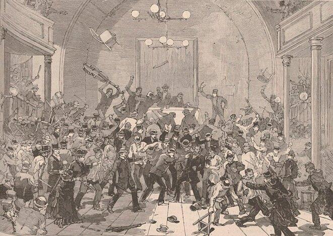 «Paris. La manifestation du 11 mars. Salle Rivoli. Les anarchistes, conduits par Mlle d'Erlincourt, maltraitent Yves Guyot. (Dessin de M. Haënen, d'après le croquis de M. Dick) »