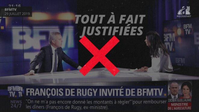 Ex-minister François de Rugy seeks to clear his name on BFM TV, July 29th 2019. © DR