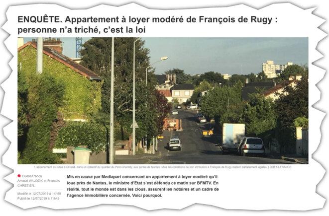 Capture d'écran de l'article de « Ouest-France » publié le 12 juillet 2019. © DR
