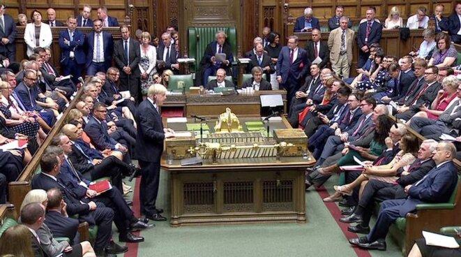 Le premier ministre Boris Johnson devant la Chambre des communes, le 25 juillet. © Reuters TV