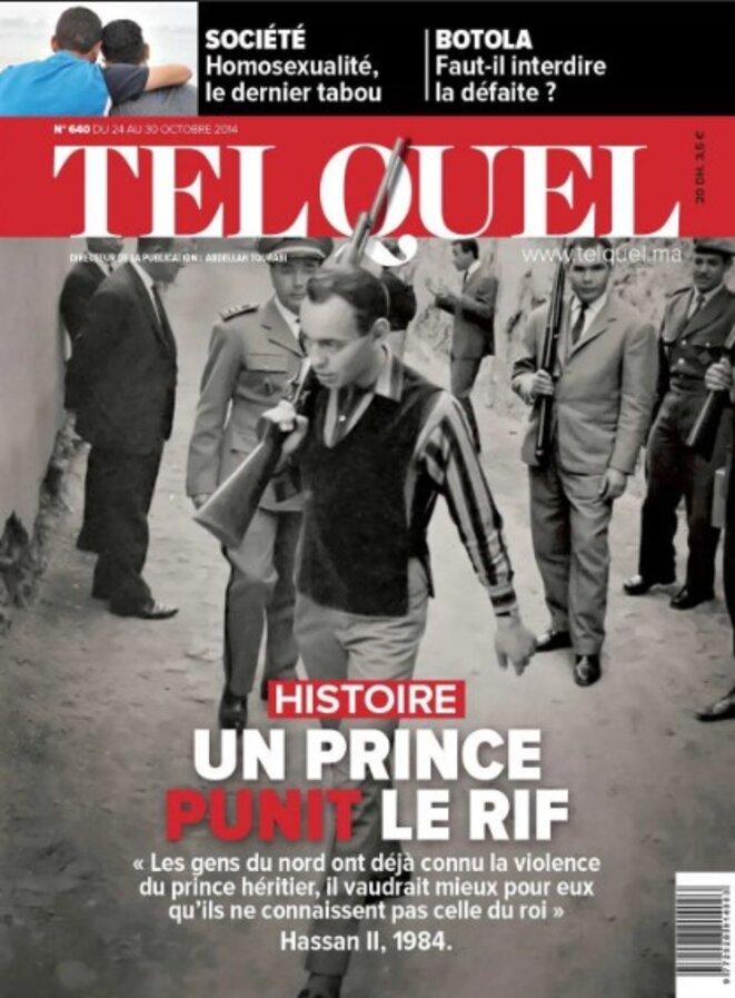 Un numéro d'octobre 2014 du magazine Tel Quel montre le prince héritier Hassan dans le Rif en janvier 1959, après la répression des Berbères par l'armée marocaine.