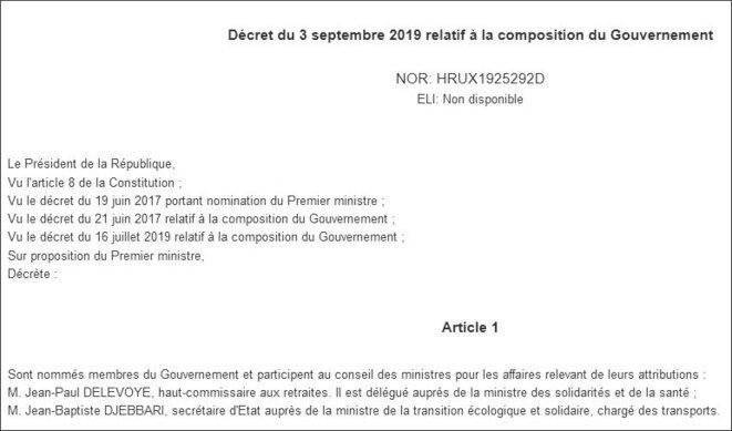 Décret de nomination au Gouvernement de Jean-Paul Delevoye (copie d'écran) © https://www.legifrance.gouv.fr/affichTexte.do;jsessionid=8D092339A17900BCD08027654D2BA861.tplgfr29s_2?cidTexte=JORFTEXT000039025448&dateTexte=&oldActi