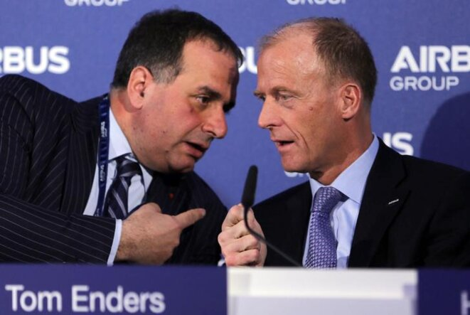Marwan Lahoud en 2014 avec le PDG d'Airbus Tom Enders. © Reuters