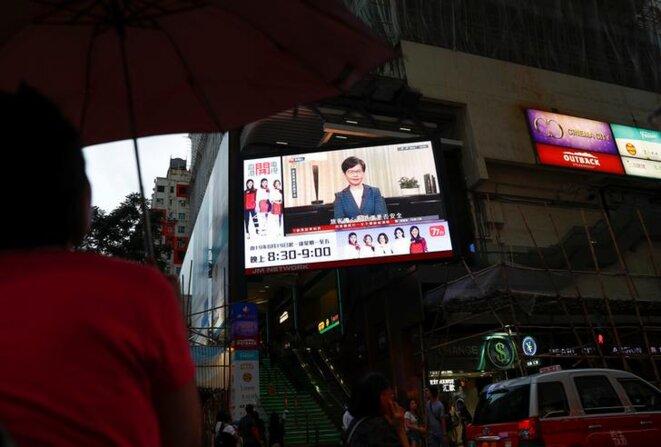 L'intervention télévisée de Carrie Lam, le 4 septembre 2019. © Reuters