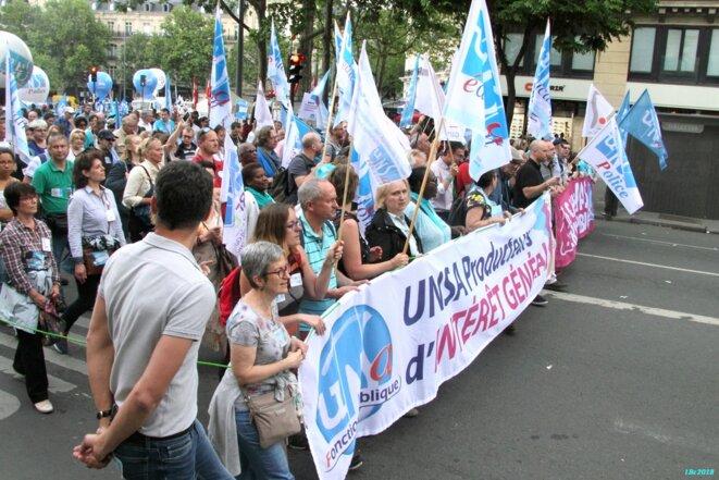 Manifestation unitaire Fonction publique du 22 mai 2018 (cortège UNSA, Paris) © Luc Bentz