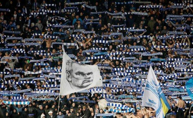 Des supporters du Dynamo Kiev lors du match de Ligue Europa contre Chelsea, en mars 2019. © Reuters