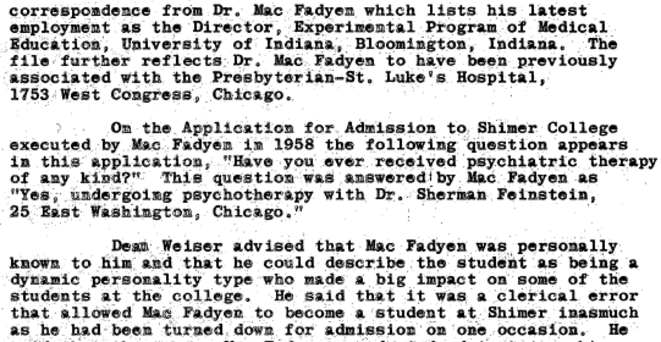 Gavin MacFadyen FBI file extract (around 1963) obtained by US FOIA year 2017 © FBI