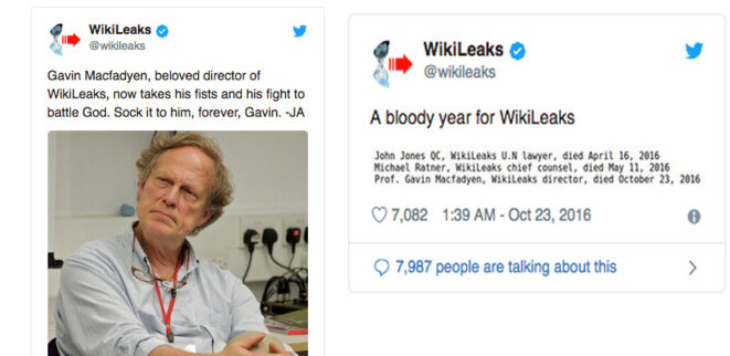 Julian Assange & WikiLeaks tweets right after MacFadyen death © WikiLeaks