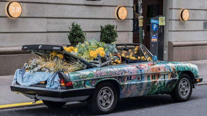Voiture fleurs et légumes © Manolofranco