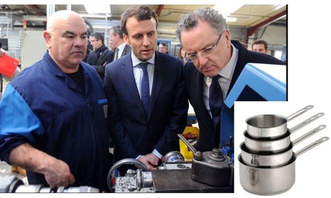 Richard Ferrand, lors d'une visite en Bretagne, en 2016, devant un tour sur métaux, perplexe [photo AFP, montage YF]