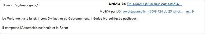 Art. 24 de la Constitution: c'est le Parlement qui contrôle le Gouvernement, et non l'Exécutif qui contrôle le Parlement © Constitution sur Legifrance.gouv.fr (copie d'écran)