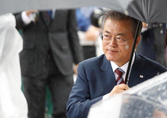 Le président sud-coréen Moon Jae-in au sommet du G20 à Osaka le 27 juin. © @REUTERS/Jorge Silva