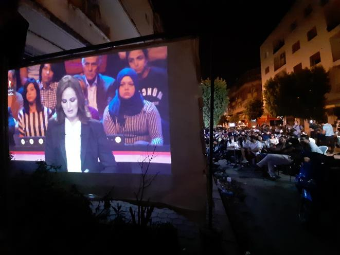 Lors de la projection du débat à Lafayette, à Tunis, septembre 2019. © LB