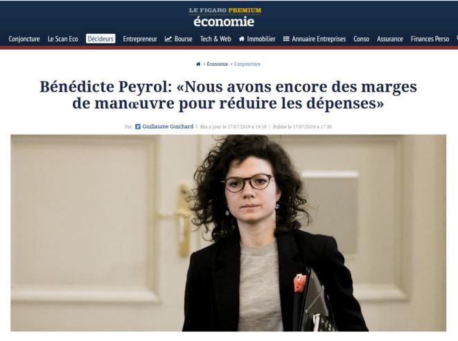 """L'obsession de la """"création de valeur"""" pour les actionnaires et de la """"réduction des dépenses publiques"""" pour tous les autres. © Capture d'écran du site du Figaro (17.07.2019)."""