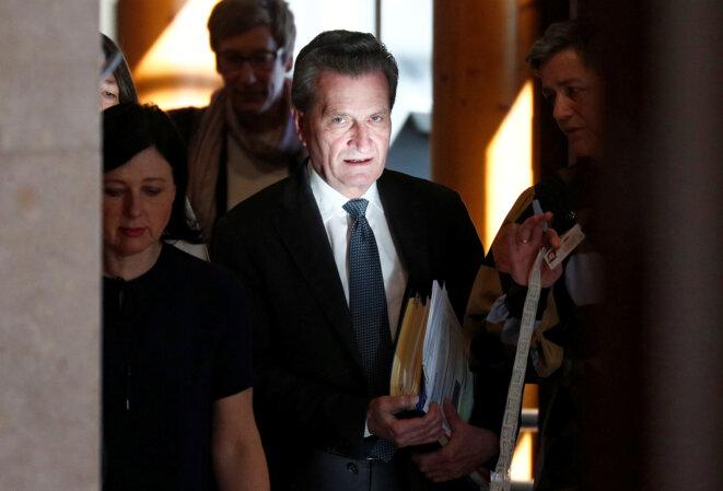 Günther Oettinger le 27 février 2019 à Bruxelles © François Lenoir / Reuters.