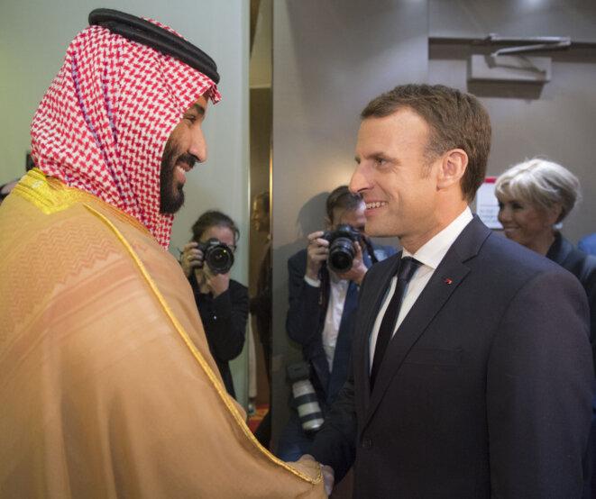 """Mohammed ben Salman, dit """"MbS"""", s'est entretenu samedi Emmanuel Macron. Une des conséquences à venir est la hausse à venir du prix de l'essence de près de 5 centimes. Nous appelons Emmanuel Macron à stopper la vente d'armes à l'Arabie saoudite. Nous devons en terminer avec la diplomatie de la honte."""