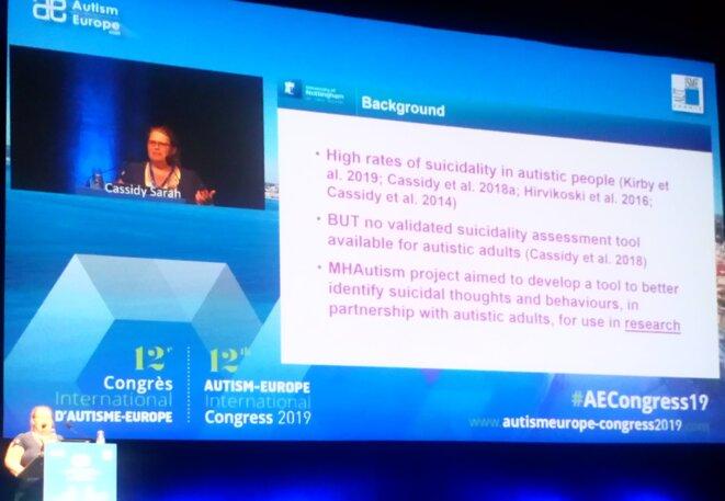 Sarah Cassidy au congrès d'Autisme Europe - 14/09/2019 © DR