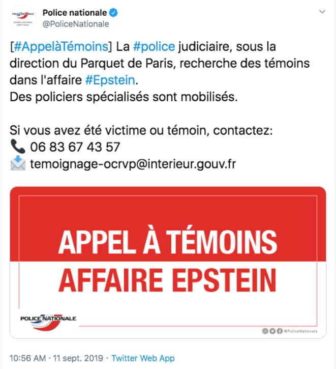 Message diffusé sur Twitter par la police française, le 11 septembre.