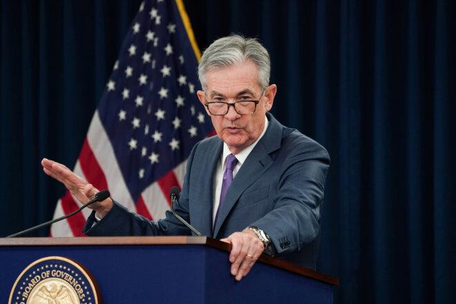 Le président de la FED, Jerome Powell, lors d'une conférence en juillet. © Reuters