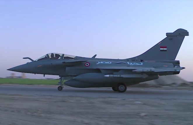 A French-made Egyptian air force Rafale fighter plane taking off as part of an air raid in Libya in 2017.