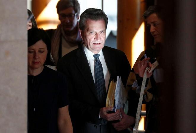 Günther Oettinger el 27 de febrero de 2019 en Bruselas. © François Lenoir/Reuters.