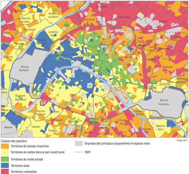 """""""Classe de quartier"""" selon l'INSEE et l'APUR © INSEE-APUR 2017"""