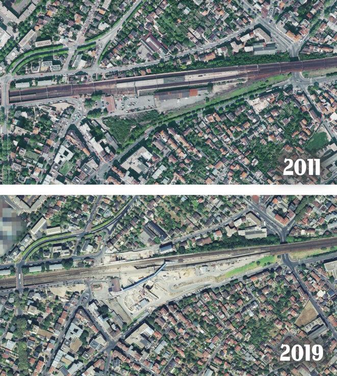 Gare de Clamart (92) 2011-2019 Le maire de Clamart a littéralement vendu la place de la gare aux promoteurs. © Géoportail