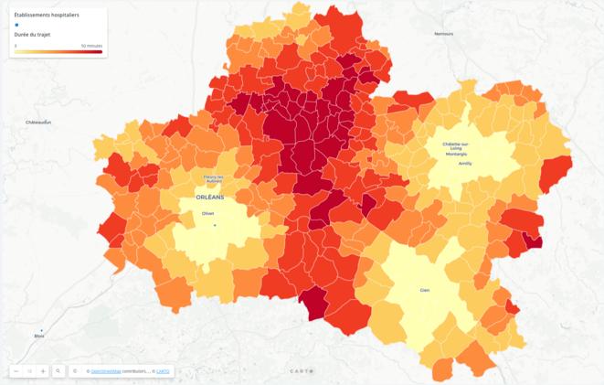 Commune par commune du Loiret, les temps de trajet vers les établissements hospitaliers pratiquant des IVG par aspiration. © Mediapart