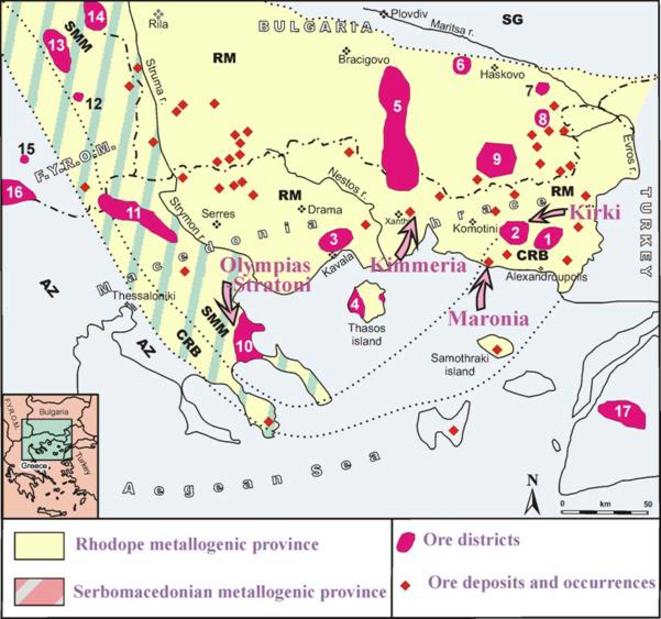 Carte des gisements miniers dans le Sud des Balkans: Grèce, Bulgarie, Macédoine du Nord, Turquie