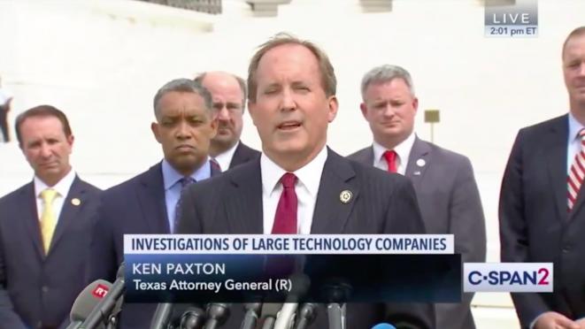 El fiscal general de Texas Ken Paxton, durante la conferencia de prensa celebrada el lunes 9 de septiembre en Washington. © @TXAG © @TXAG