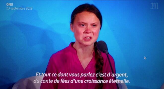 Greta Thunberg à l'ONU © capture d'écran