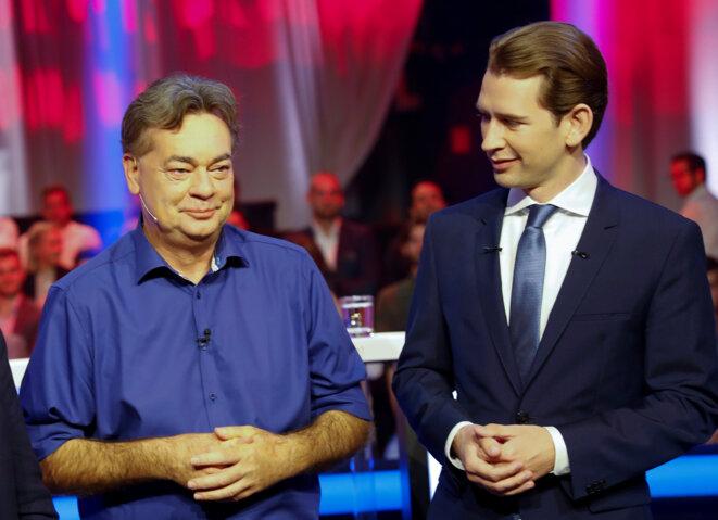 Werner Kogler (à gauche sur la photo) et Sebastian Kurz, chancelier sortant, lors d'un débat télévisé le 22 septembre 2019 © Reuters / Leonhard Föger