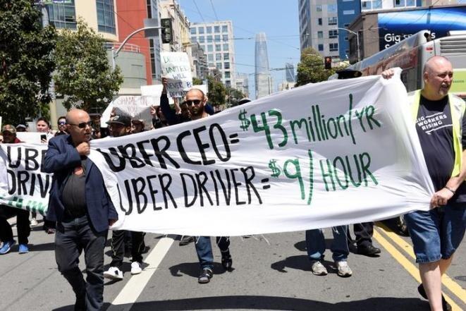 Conductores de Uber en huelga en San Francisco (Estados Unidos), el 8 de mayo de 2019, el día antes de la entrada en bolsa de la empresa. © Reuters