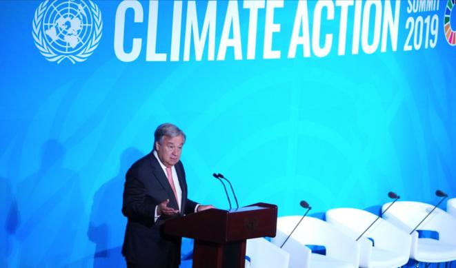 Le secrétaire général de l'ONU, António Guterres, à l'ouverture du sommet. © Reuters