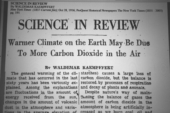 Article du New York Times du 28 octobre 1956 © Waldemar Kaempffert