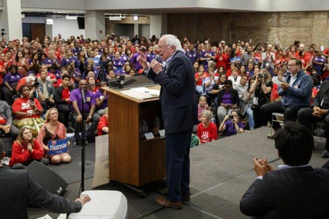 Bernie Sanders lors d'un rassemblement des syndicats enseignants à Chicago © Armando L. Sanchez / Chicago Tribune