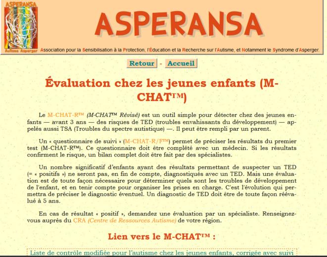 Page M-CHAT du site d'Asperansa © Asperansa