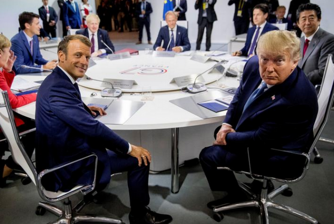 Emmanuel Macron and Donald Trump during the G7 at Biarritz, south-west France, August 25th 2019. © Andrew Harnik/Pool via REUTERS