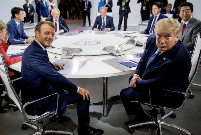 Emmanuel Macron et Donald Trump, lors du G7 à Biarritz, le 25 août 2019. © Andrew Harnik/Pool via REUTERS